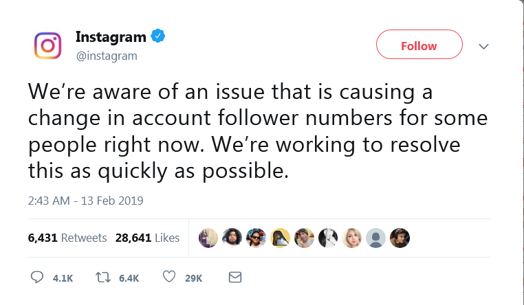 Instagram solo ha emitido este tweet oficial acerca de la eliminación de seguidores
